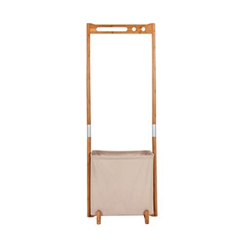 Râteliers multi-usages Porte-Manteau Solide Combinaison de Plancher en Bois Cintre créatif vêtements Sale Panier Simple Moderne Cintre Casiers (Color : Beige, Size : 57 * 38.8 * 155cm)