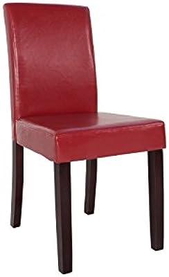 DuNord Design Silla de Comedor Levante Burdeos Rojo Piel Sintética Colonial Silla de Pino