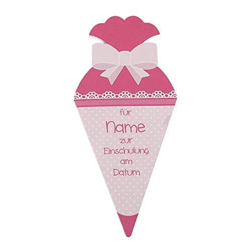 Glückwunschkarte zur Einschulung - Schultüte - mit Namen und Datum im Cover bedruckt (Rosa)