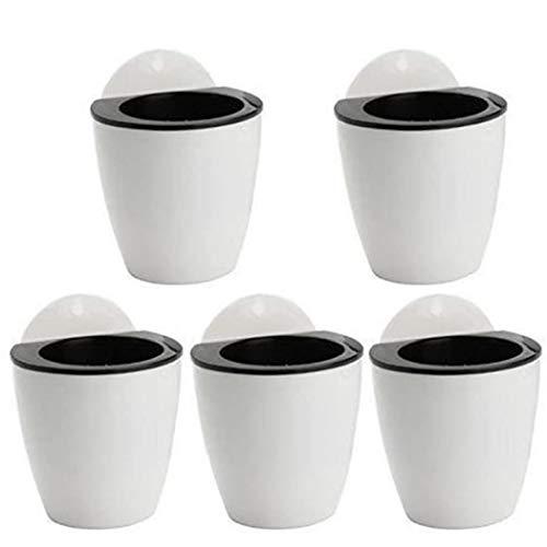 NaiCasy Suculentas en macetas Colgantes de Flores de plástico Auto-riego 5 Ganchos Perezoso Pared Interior Negro y Blanco 5 artículos de jardinería
