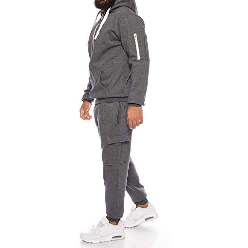 Riou Trainingsanzug Herren Baumwolle Winter Solid Zipper Hoodie Sweatshirt Jogginganzug Sportanzug (L, Dunkelgrau)
