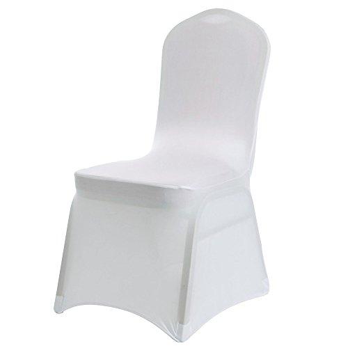IVhomeshop - Lot de 100 housses de chaise en lycra élasthanne extensible, blanc - pour couverture de chaises de mariage, anniversaire, dîner, banquet, fête, réunion