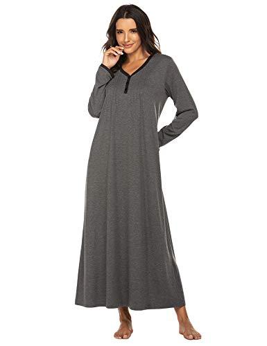 Ekouaer Sleep Shirt Women's Long Sleeve Sleepwear O-Neck Night Dress Nightgown Loungewear Small