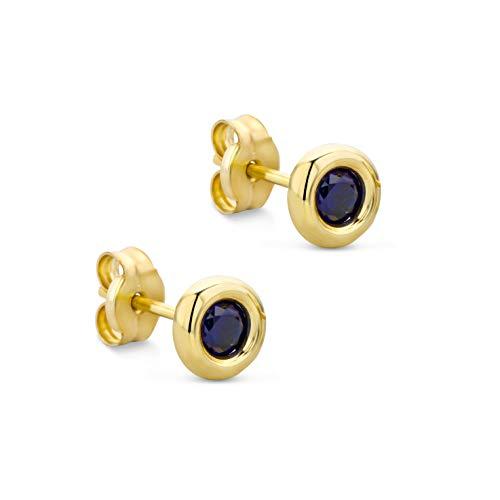 Orovi Schmuck Damen runde Ohrringe mit Edelstein/Geburtsstein Saphir in Blau Ohrstecker aus Gelbgold 9 Karat / 375 Gold