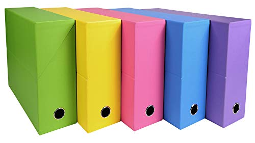 Exacompta 89329E Salsa -Caja de transferencia (24 x 32 cm, A4, lomo de 90 mm), 1 unidad, colores surtidos