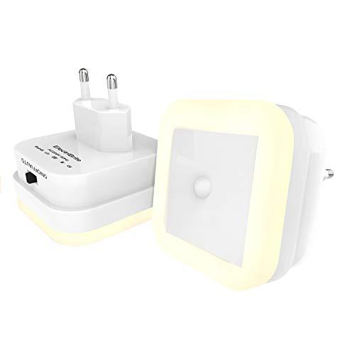 LED Nachtlicht Steckdose Bewegungsmelder - 2 Stücke Led Steckdosenlicht mit 3 Modi(ON/OFF/AUTO) 8 LEDs Helligkeitssensor, Orientierungslicht für Kinderzimmer Badezimmer Treppe