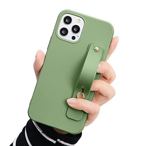 Eouine - Capa de pulso para Huawei P20 Pro, 6,1 polegadas, capa de telefone de silicone verde macio com pulseira de pulso, suporte fino à prova de choque anti-arranhões capa para Huawei P20 Pro