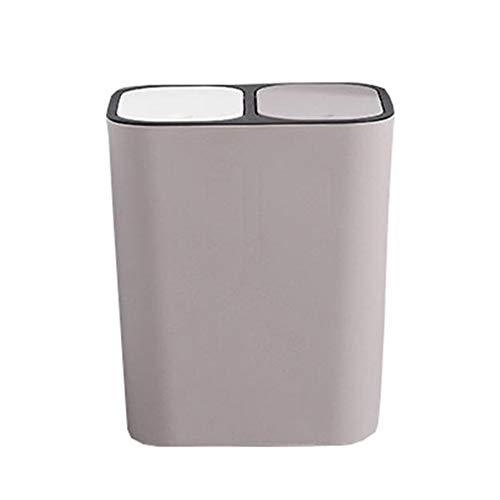 LOKIH vuilnisbak met deksel, draagbare push-in afvalsortering milieuvriendelijke vuilnisbak, dubbele laag vuilnisbak voor kantoor, badkamer en keuken