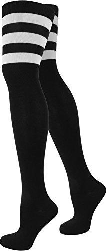 normani Damen Overknee Überknie halterlose Strümpfe in schwarz weiß und gestreift Farbe American/Stripes/Schwarz Größe 2 Paar