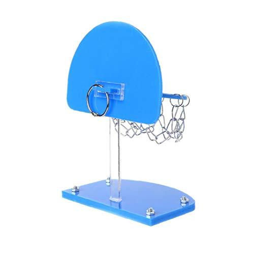 Screst Bird Inteligencoa Mini Baloncesto Estante del Juguete Capacitación para Mascotas Loro Perico Cacatúas Jaula De Hueso De Juguete para Mascotas Suministros Bites (Azul) 1pc