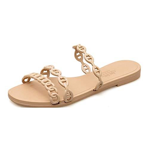Damen Cut-Out Sandalen Ketten Slipper Frauen-Sommer-Schuhe Bügel Drei Gürtel Zehensandale Jelly Flip Flops Beiläufigen Flachen Hausschuh Für Kleid
