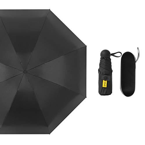 Lanho Sonnenschirm, 8 Knochen, Stahl, UV-Schutz, tragbar, fünf faltbare Kapseln, mehrfarbig, optional, Schwarz (Schwarz) - TURCC-50612