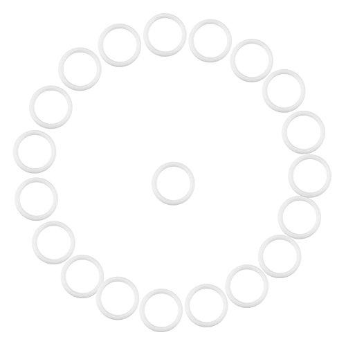Zerodis 20Pcs Sicher Silikonring für Schnuller Schnullerketten Clips Adapter Halter Weiche Baby Beißring Halter Ringe Geburtstag Baby Shower Geschenk(Weiß)