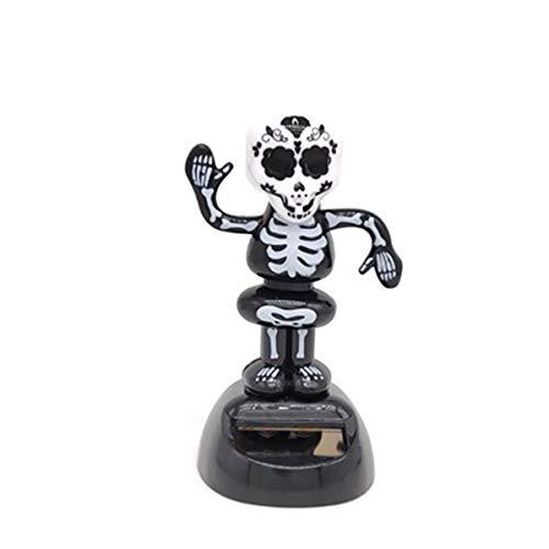 PRETYZOOM Figura solar para Halloween, diseño de espíritu de esqueleto, cráneo, juguete solar para el salpicadero, ornamento de Halloween, decoración de mesa, 1 pieza