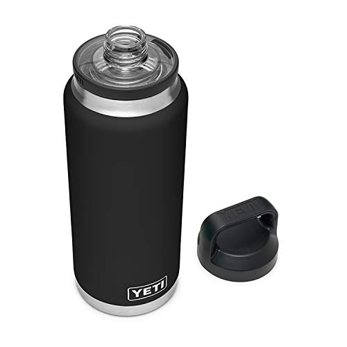 YETI Rambler 36 oz Bottle, Vacuum Insulated, Stainless Steel with Chug Cap, Black
