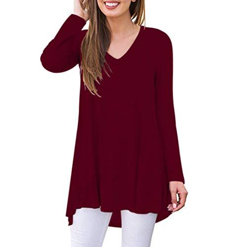 AUSELILY Camiseta de Manga Larga con Cuello en v para Mujer Túnica Tops Blusa Camisas.(EU 40-42,Vino Rojo)