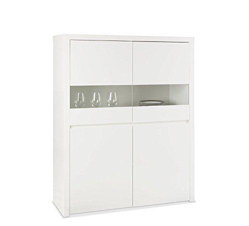 Vitrine Vitrinenschrank Glasschrank | Weiß Hochglanz | 110x145x40 cm