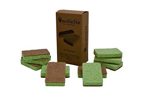 Wooglaste ® - Spugna per Lavare i Piatti - Doppia Faccia - Multiuso - Cellulosa per Lavare - Sisal per Pulire - Detergenti per la Cucina - Detergenti per la Casa - Efficace senza Graffiare - Set di 10
