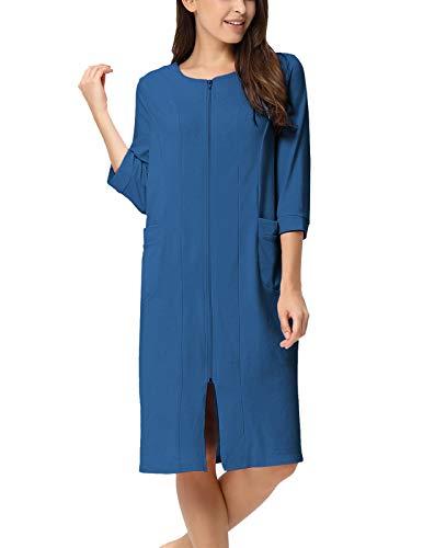Womens Winter Robe Zipper Bathrobe Summer Robe Navy Blue 2XL