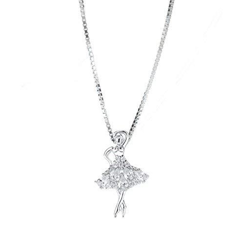 Silverage, Collana da donna con ciondolo a forma di ballerina, in argento Sterling 925