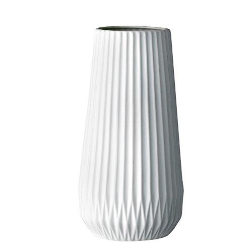 Bloomingville Vase, Keramik, geriffelt, Weiß