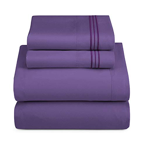HAUSEIN California King Size - Set di 4 pezzi di biancheria da letto in microfibra resistente, resistente al sudore e allo sbiadimento, super morbido e confortevole, 180 x 210 cm, colore: Viola