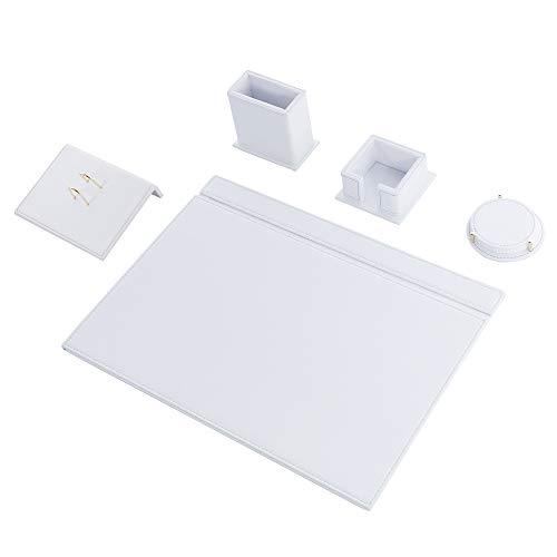 Calme-N - Juego de 5 protectores de escritorio de 49 cm x 34 cm, de piel sintética, en 6 colores a elegir, color blanco