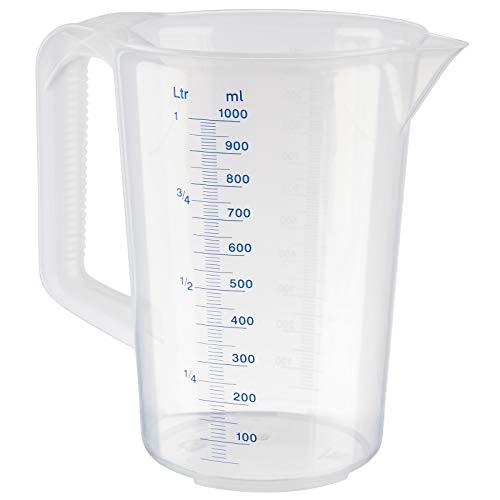 APS Messbecher 1 Liter, Ø 12 x H: 17 cm, Kunststoffbecher mit geprägter Maßskalierung außen, geschlossener Griff, 1- und ml-Liter- Einteilung, spülmaschinengeeignet