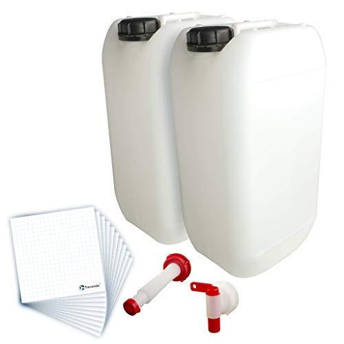 Trevendo® 2er Pack 15 Liter Leerkanister inkl. Auslaufhahn, Ausgießer Flex und 10 Etiketten