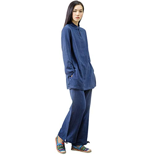 KSUA Womens Chinese Kung Fu Clothing Tai Chi Suit Cotton Yoga Suit for Zen Meditation Martial Arts, Dark Blue US M/Tag L