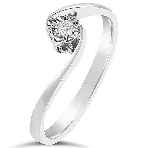 Nuevo Piercing Nariz Oro Blanco Auténtico 750 Brillante Diamante 0,03 Quilates