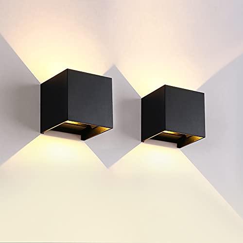 Apliques Pared LED, 2 piezas 12W luces led de pared hacia arriba y hacia abajo impermeable IP65, Luz Blanco Cálido 3000K Lámpara de pared para Interior Exterior Apliques para Salon Dormitorio Pasillo