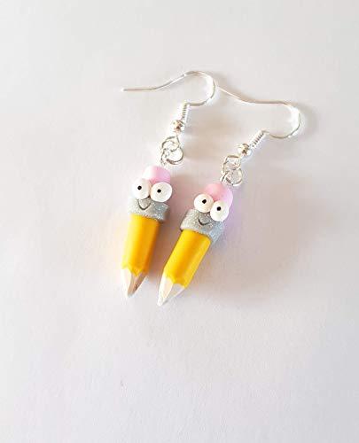 boucles d'oreilles crayon de couleur rigolo jaune et gomme rose