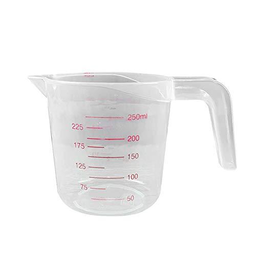 LPxdywlk Herramienta De Pesaje De Cocina De Plástico Transparente De Taza De Medición De Doble Escala De 250/500/1000 Ml 250 ml