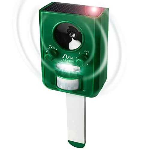 Gardigo Tiervertreiber Ultraschall Solar | Katzenschreck, Marderabwehr mit Blitzlicht | Multifrequenz Gerät, 5 Modi, 10 m Reichweite