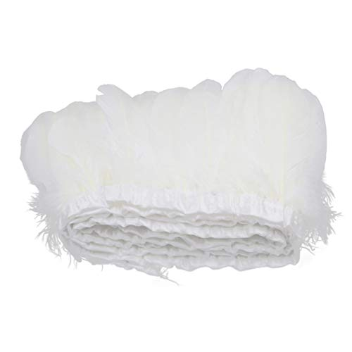 HEALLILY pato naturales plumas de ganso franja de ajuste para la decoración del sombrero artesanal 2m blanco