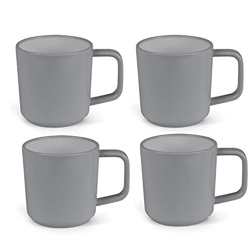 Melamin Tassenset Non-Slip Elegante Farben 4 Tassen á 350 ml - grau weiß Campinggeschirr Geschirr Personen Picknick Camping Outdoor