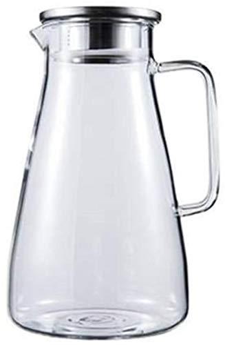 Jarra de cristal con tapa y asa de borosilicato, resistente al calor, para vino, café, leche y jugo, jarra con boquilla de té (tamaño : 2400 ml)