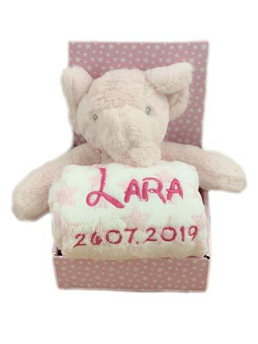 Kinderen babyset met naam en geboortedatum geborduurd (op de plaid) incl. pluche knuffeldier - geschenk doop geboorte Olifant/roze