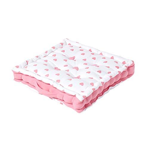 HOMESCAPES dekoratives Sitzkissen Stuhlkissen Sitzerhöhung Stuhlauflage Pink Hearts, 40 x 40 cm, 100% Reine Baumwolle mit Polyester...