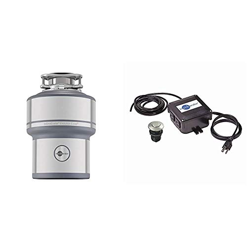 InSinkErator Garbage Disposal, Evolution Excel, 1.0 HP Continuous Feed & STS-OOSN SinkTop Satin Nickel Button Dual Outlet Switch