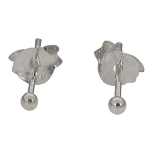 Touch Jewellery - Orecchini da lobo piccoli in argento sterling, con pallina, 2 mm