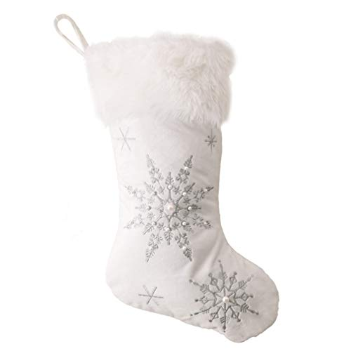 Angoily 2Pcs Weihnachten Hängende Socken Weiße Plüsch Schneeflocke Hängende Strümpfe Große Hängende Verzierung für Urlaub Weihnachten Party Kamin Dekor
