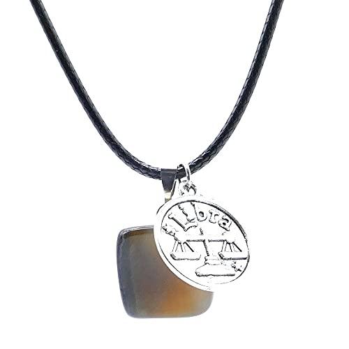 ARITZI - Collar de Cola de ratón de 45 cm con Piedra de Canto rodado de Ágata y Dije de horóscopo de Libra