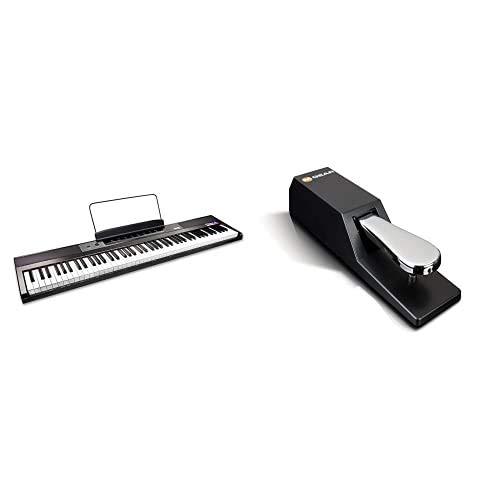 RockJam 88 Principiante Tasto di Pianoforte Digitale Tastiera del Pianoforte con Fullsize Semiweighted Chiavi Leggio Pianoforte & M-Audio SP-2 Pedale di Sustain Universale per Tastiera