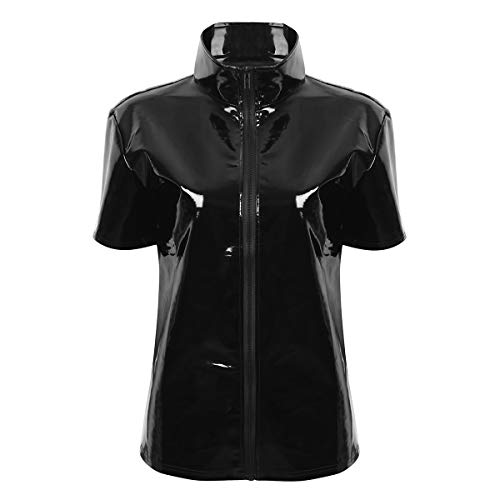 Alvivi Herren Lack-Optik Jacke Kurze Mantel Wetlook Oberteile Männer Kunstleder Hemd T-Shirt Slim Fit Latex Glänzend Tops Party Outwear Schwarz XXL