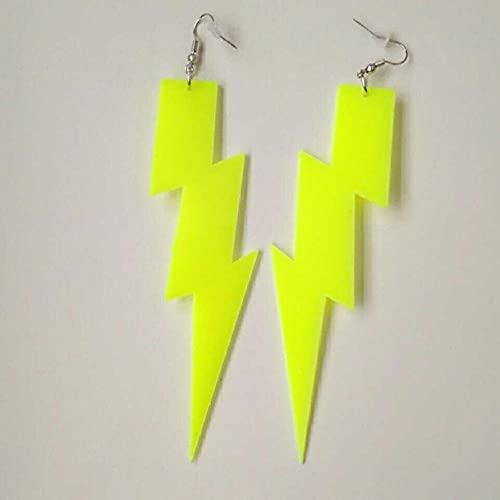 XQAQW Colore Fulmine Pentagram Acrilico Drop Orecchino per Donna Punk Geometric Long Orecchini Fashion Jewelry Party Regalo-Yellow_Lt