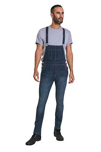 Wash Clothing Company Herren Slim Leg Latzhosen mit 'Drop Bib' Denim mit Abnutzungs-Effekt BROOKLANDS-32W