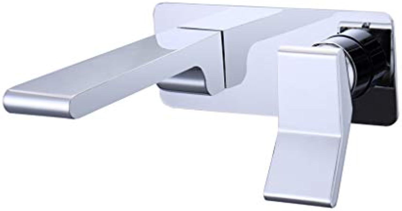 Wand-Beckel-Mixer, Moderne Badewanne Tap Wall Mounted Single Lever Mixer Basin Sink Tap Faucet Chrome poliert,Silber