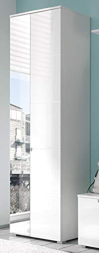 AVANTI TRENDSTORE - Spilla - Arredamento da Ingresso Elegante, in Laminato di Colore Bianco Opaco con Lati Anteriori in Bianco Lucido (Armadio)